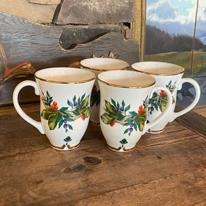 Princess House Winter Garden 4pc Mug Set